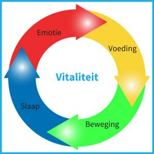 De vier pijlers van Vitaliteit, voeding, beweging, slaap en emotie
